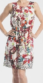Red Pink White Print Aline Dress 8,10